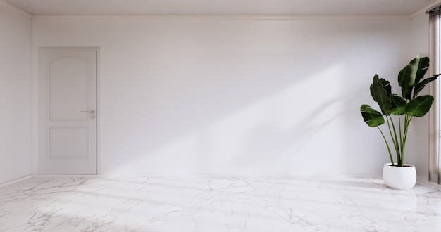 Sala vazia - sala limpa, design interior minimalista, parede branca em piso de ladrilhos de granito. renderização 3d