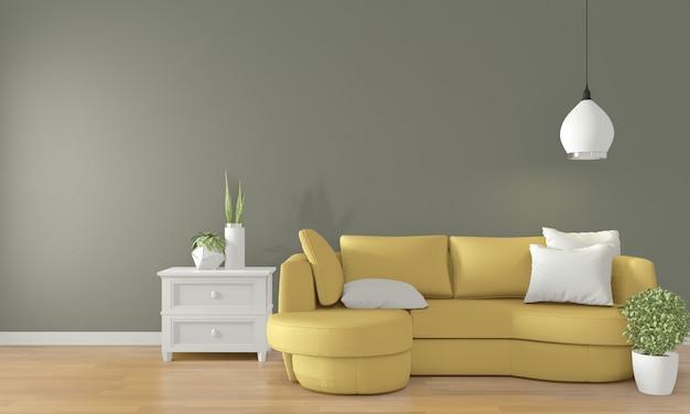 Sala verde com sofá amarelo no interior da sala moderna. renderização 3d