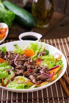 Salada com carne teriyaki