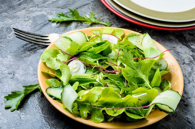 Salada com folhas de salada mista