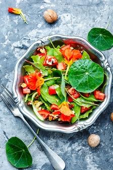 Salada com legumes, nozes e chagas