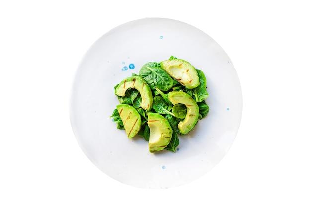 Salada de abacate com vegetais fritos alface grelhada espinafre petisco de rúcula