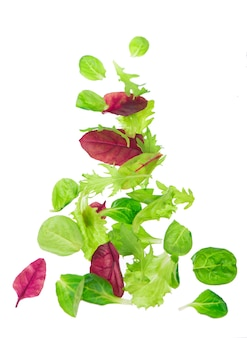 Salada de alface com folhas verdes frescas isolada na superfície branca