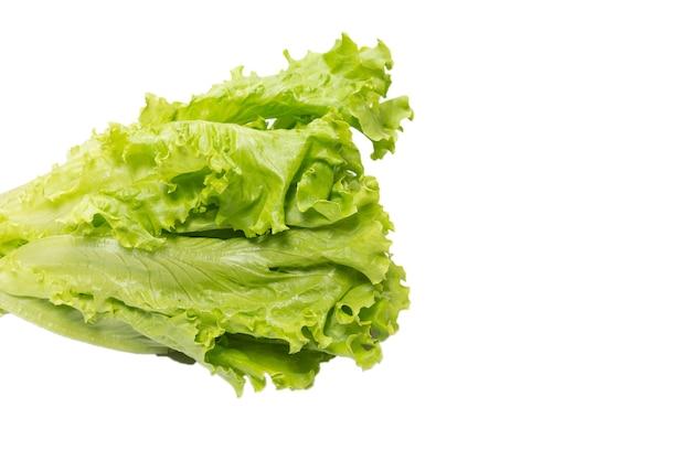 Salada de alface fresca isolada em um fundo branco. vista do topo.