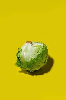 Salada de alface iceberg fresca sombreia em uma superfície amarela sólida brilhante. estilo tropical, conceito de alimentação saudável