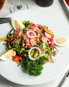 Salada de atum fresco no prato