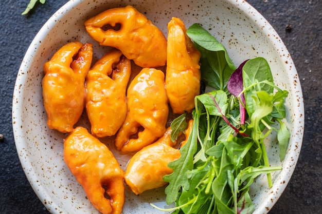 Salada de caranguejo garras caranguejo palito frutos do mar vegetais surimi pepino alface rúcula farinha de espinafre