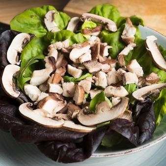 Salada de cogumelos com vista superior