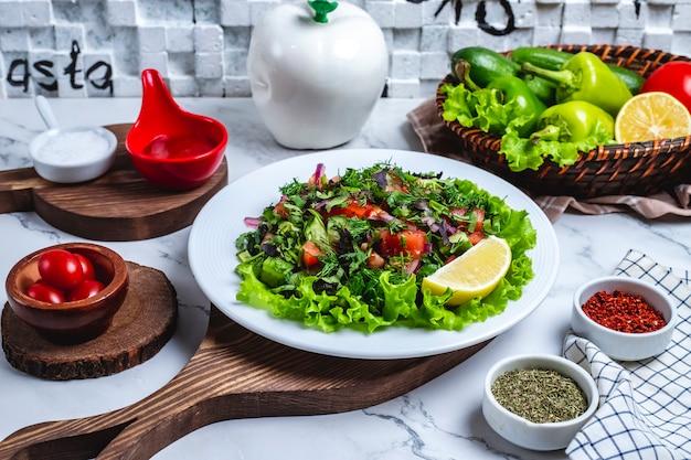 Salada de legumes vista frontal com verduras na alface em um prato com uma fatia de limão e tomate cereja