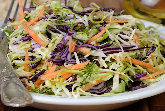 Salada de repolho vermelho e branco salada de repolho com cenoura e pepino