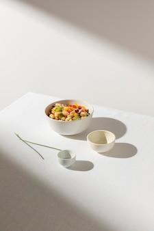 Salada deliciosa de feijão com vista panorâmica