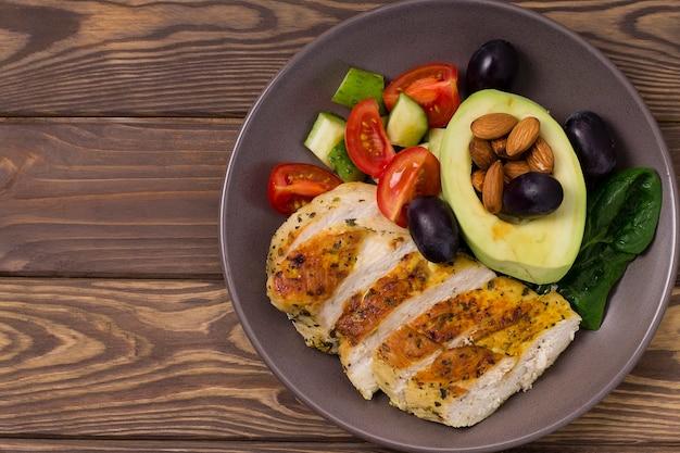 Salada dietética saudável com filé de frango, abacate, nozes e vegetais frescos. desintoxicação e conceito saudável. alimento ceto. em um prato sobre um fundo cinza.