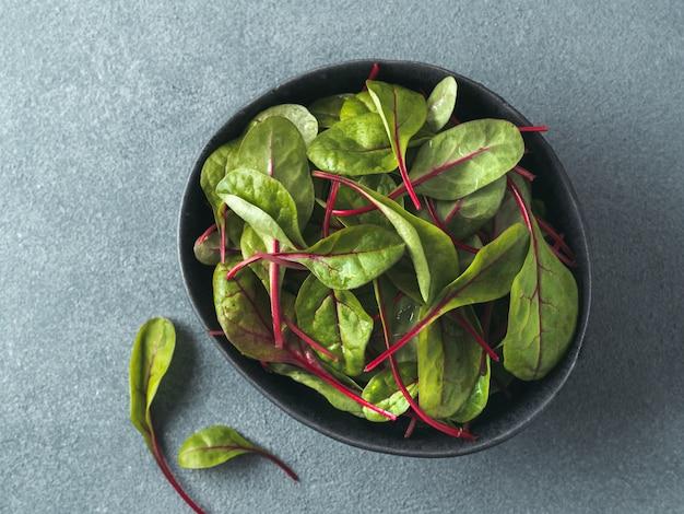 Salada fresca de folhas de acelga verde ou mangold