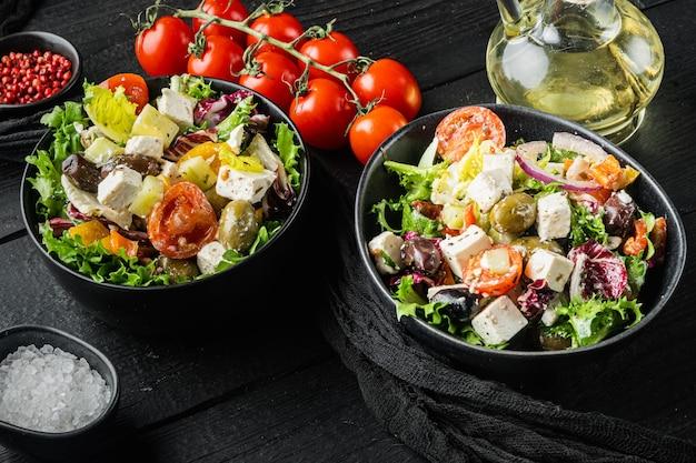 Salada grega com tomate, pimenta, azeitonas e queijo feta