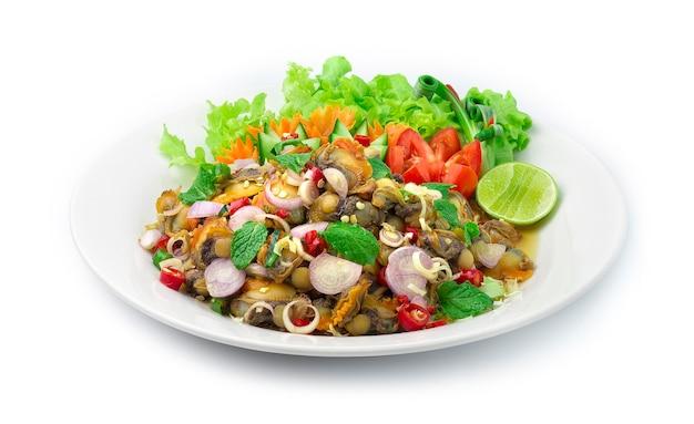 Salada picante de amêijoa amêijoa com aperitivo tailandês de ervas