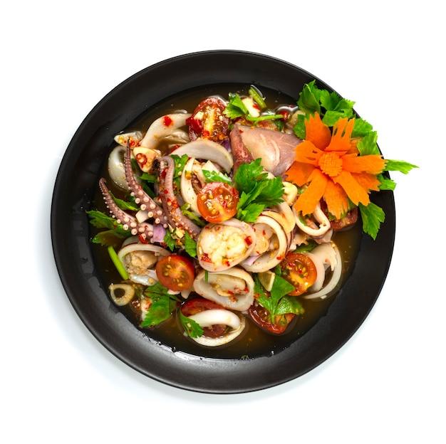 Salada picante de lula com legumes prato de aperitivo comida tailandesa