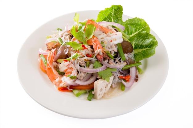 Salada picante de macarrão de feijão de mung