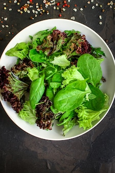 Salada saudável, salada mista de folhas (misture micro verduras, lanche suculento)