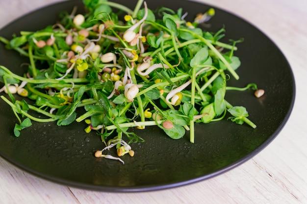 Salada saudável vegan feita de brotos de ervilhas microgreen e feijão brotado em fundo de madeira.