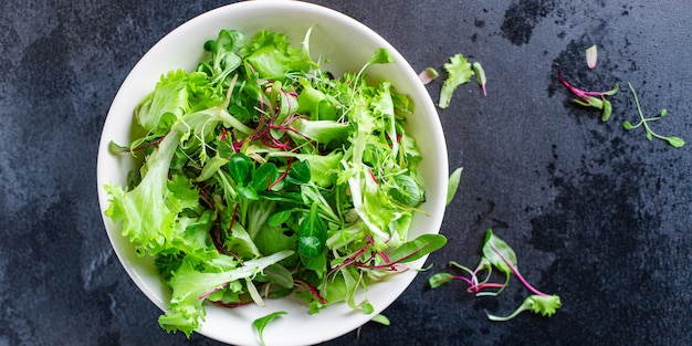 Salada verde mistura de alface com lanche suculento de microgreens pronto para comer