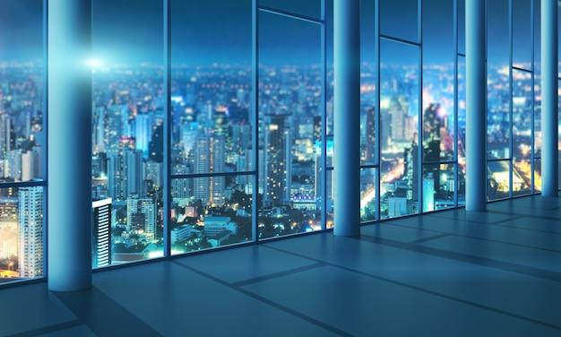 Salão de luz com parede de vidro e paisagem urbana à noite