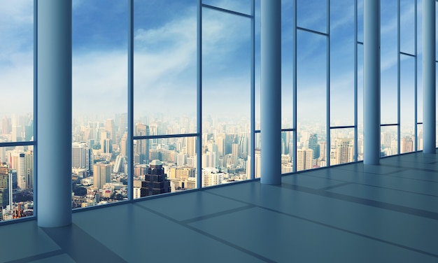 Salão de luz com parede de vidro e paisagem urbana