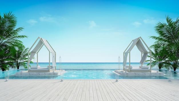 Salão de praia e vista panorâmica do mar em villa de luxo / renderização em 3d