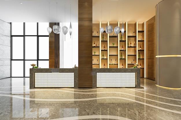 Salão de recepção do hotel de luxo e escritório com prateleira de decoração