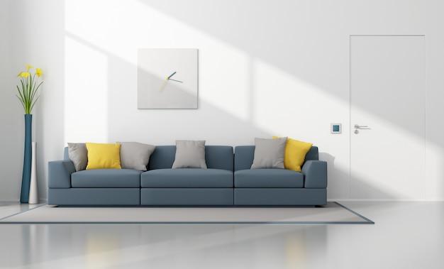 Salão moderno branco e azul com sofá moderno e porta fechada