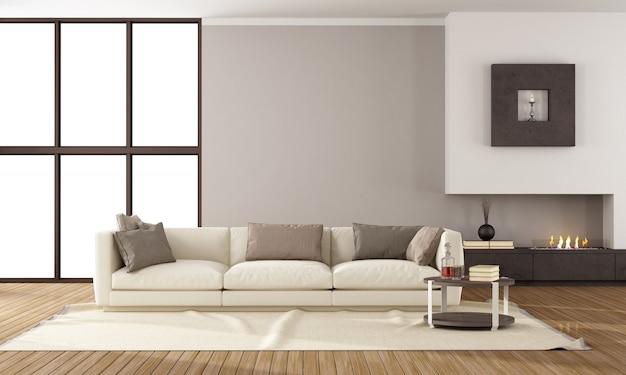 Salão moderno com lareira e sofá branco