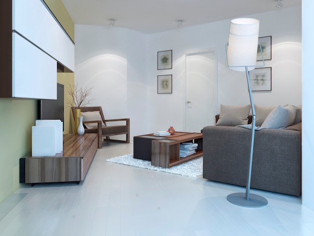 Salão pequeno em estilo contemporâneo