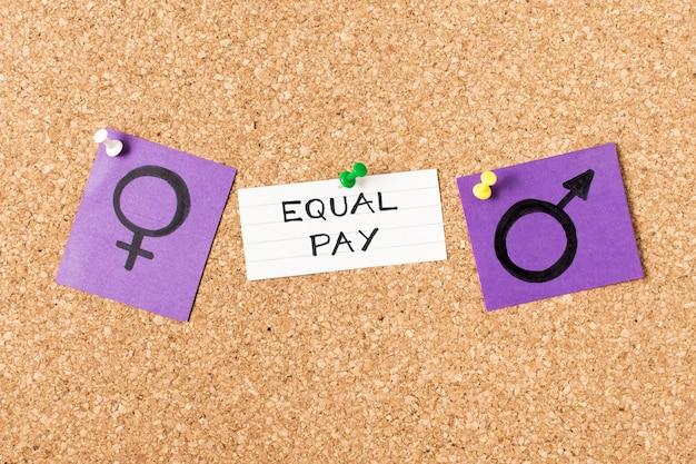 Salário igual entre símbolos de gênero de homem e mulher