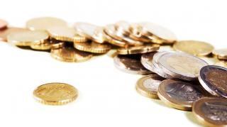 Salários moedas closeup