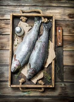 Salmão cru do peixe do mar em uma bandeja de madeira com tomilho. em madeira