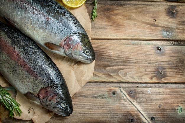 Salmão de peixe do mar cru em papel velho com rodelas de limão e alecrim perfumado. em fundo de madeira