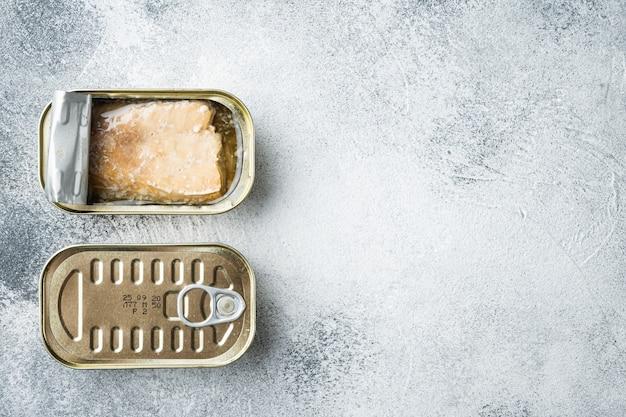 Salmão enlatado, conservas de peixe definidas, em lata, em cinza