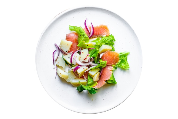 Salmão, peixe, frutos do mar, salada, legumes, alface, batata, keto, ou, paleo, dieta pescetarian