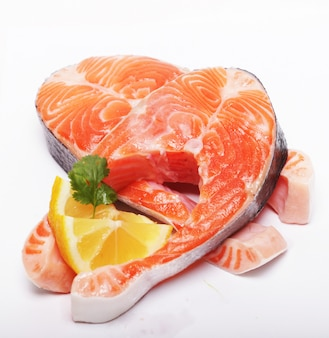 Salmão. posta vermelha salmon crua fresca. fechar-se