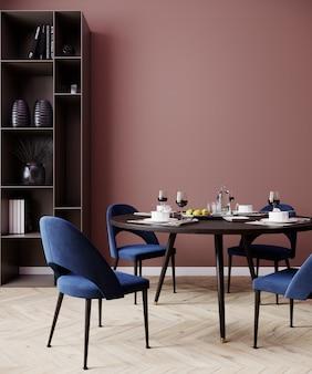 Salmão vermelho interior sala de jantar com cadeiras azuis, poster mock up, renderização em 3d