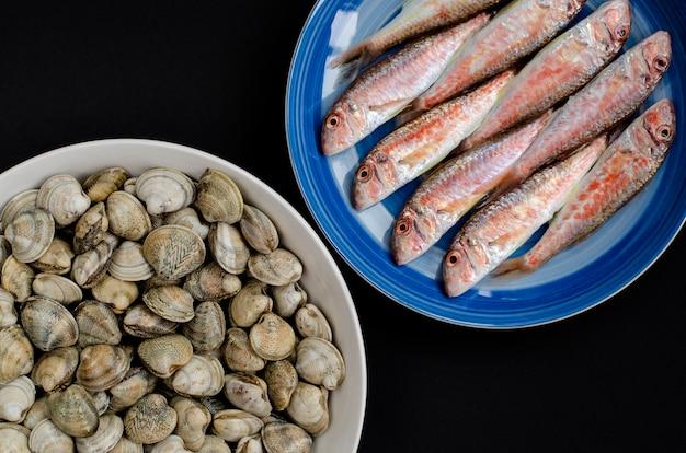 Salmonete vermelho fresco e moluscos ou marisco na placa. conceito de frutos do mar mediterrâneo. espaço da cópia