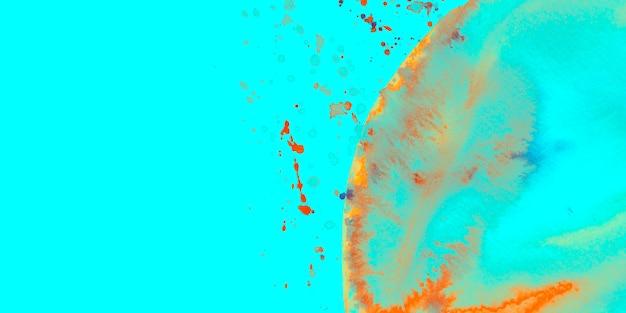 Salpicos de aguarela e arco em fundo turquesa