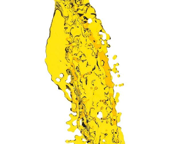 Salpicos de azeite de oliva isolados em renderização 3d de fundo branco