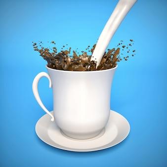 Salpicos de leite no café