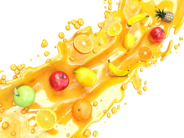 Salpicos de suco e frutas diferentes. suco de frutas