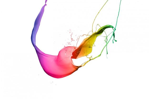 Salpicos de tinta colorida, isolados no fundo branco
