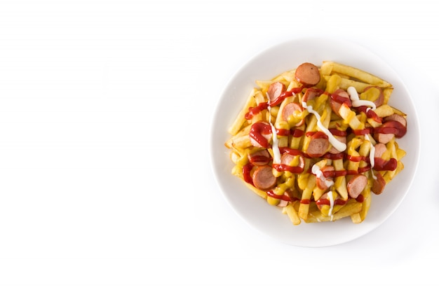 Salsichas com batatas fritas, ketchup, mostarda e maionese