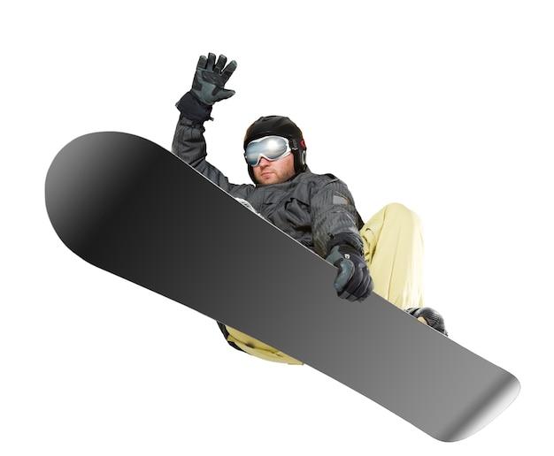 Salto de esquiador isolado no branco