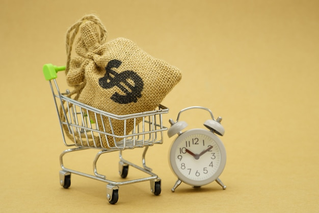 Salvando o conceito de dinheiro de coletar moedas (dinheiro tailandês) em um carrinho de compras.