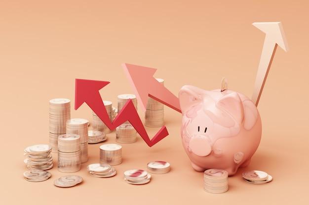 Salvar o conceito de dinheiro, negócios ricos mostrar como moeda de dinheiro pilha crescente seta com sorriso mealheiro sobre renderização 3d de pilha de moedas