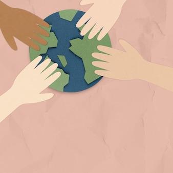 Salve nosso planeta. mãos sobre o globo terrestre